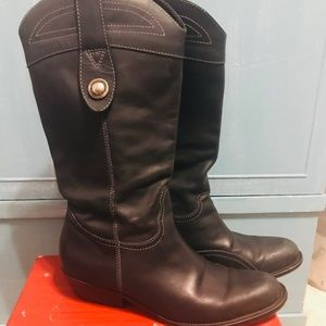 DIEGO DI LUCCA BLACK LEATHER WESTERN COWBOY BOOTS